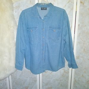 XL Rachel Brooke Denim Jean Shirt